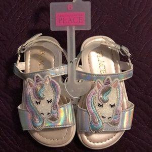 Children's Place Unicorn Sandals Silver Size 6